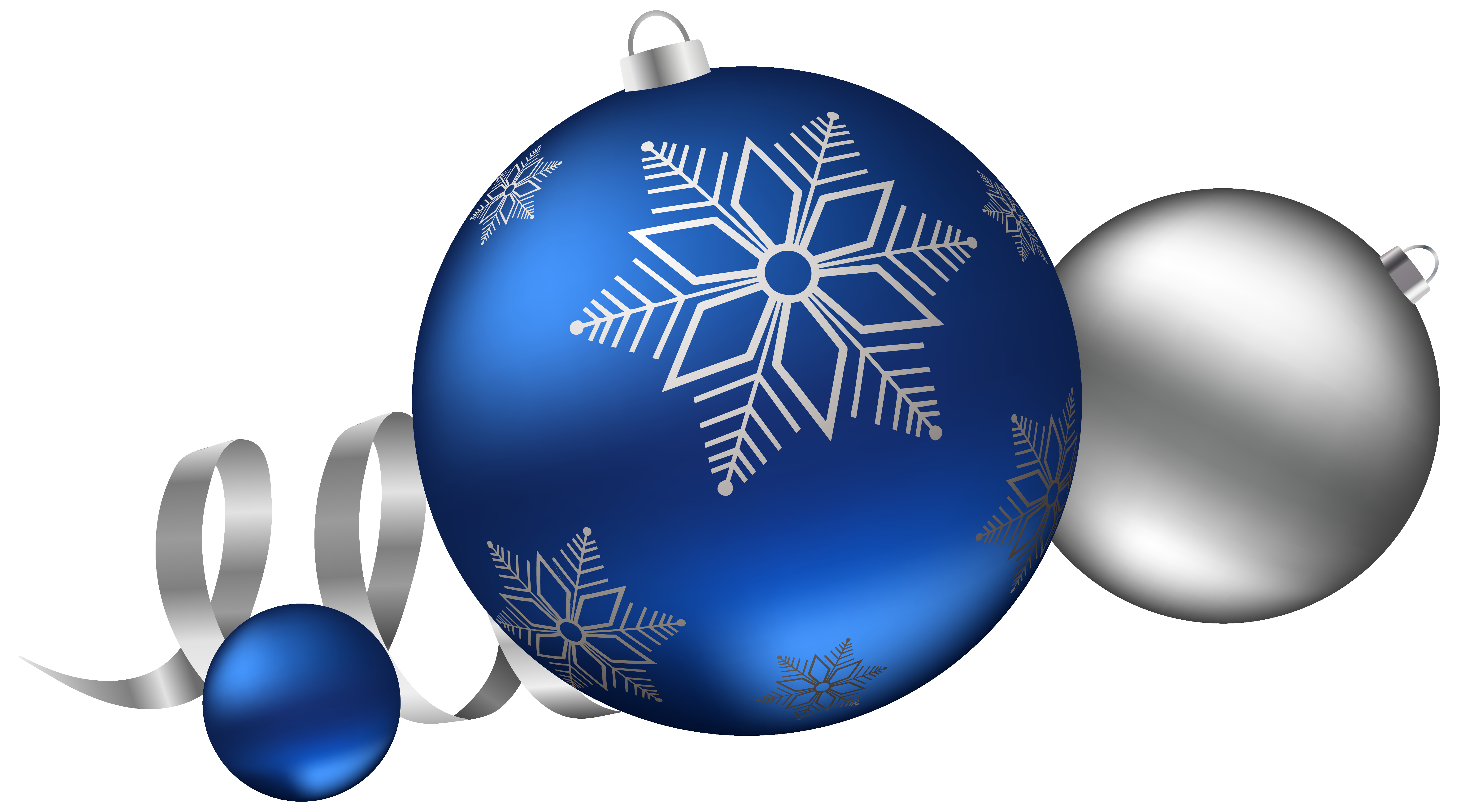 Silver and Blue Christmas Balls Decoration Clipart Image.