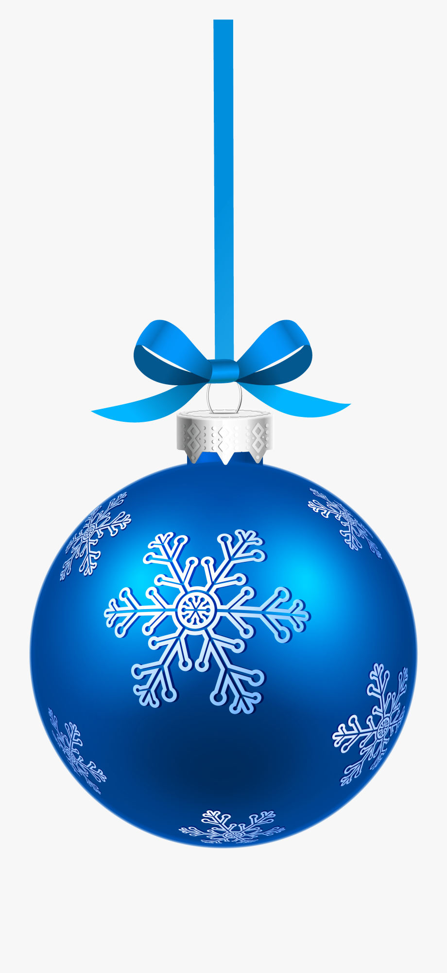 Blue Christmas Hanging Ball With Snowflakes Png Clipart.