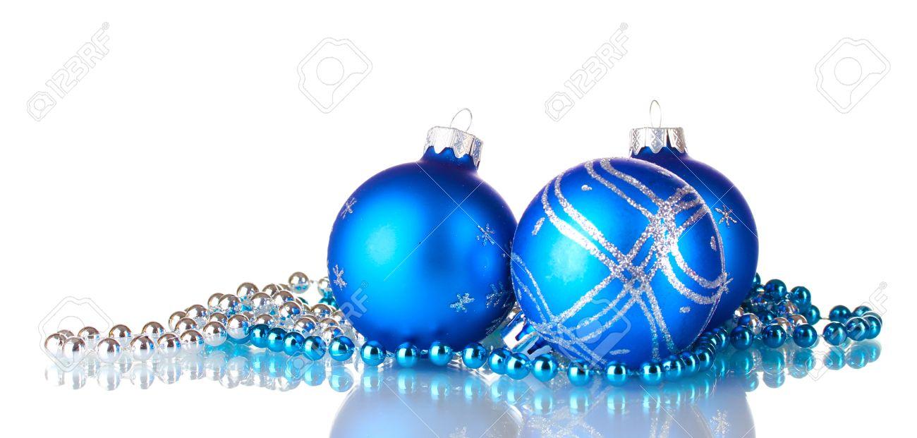Blue christmas balls isolated on white background.