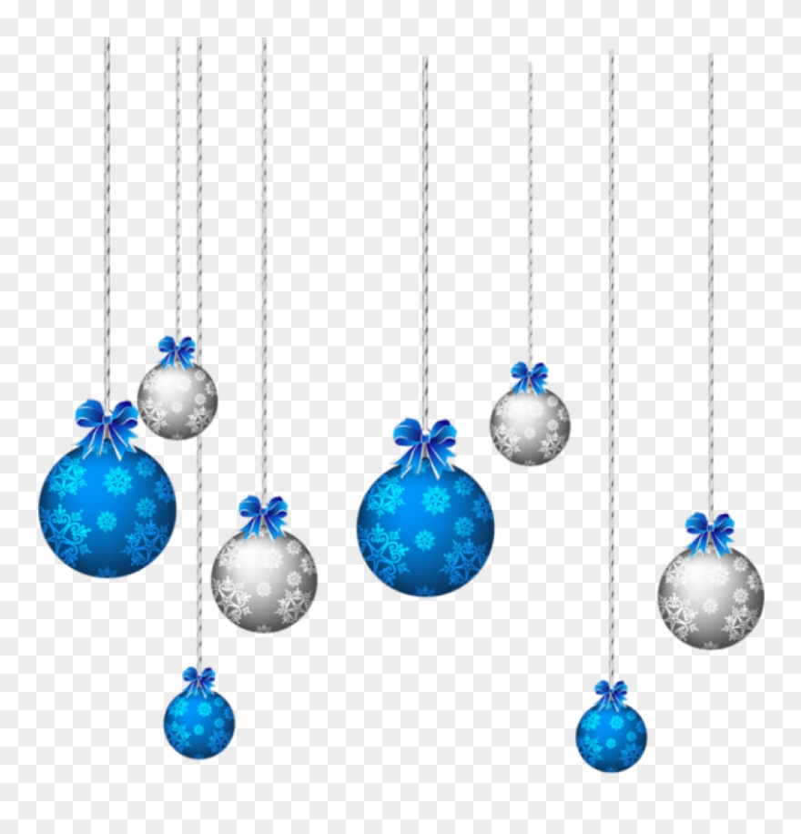 Blue And White Hanging Christmas Balls Png.