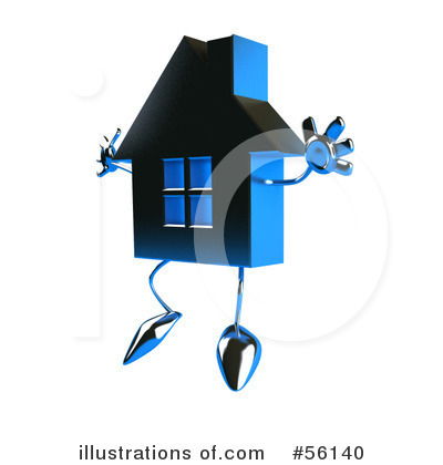Blue Chrome House Character Clipart #56140.