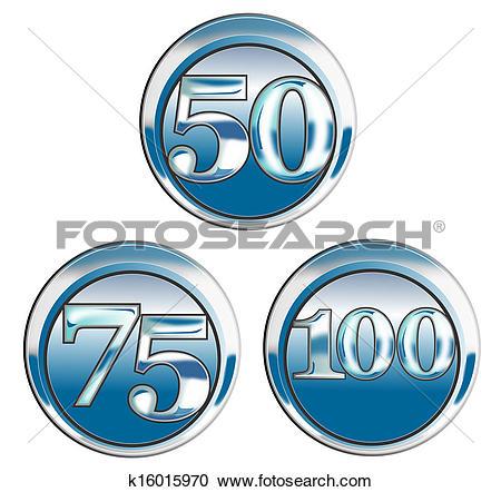Stock Illustrations of 50 75 100 in Blue Chrome k16015970.
