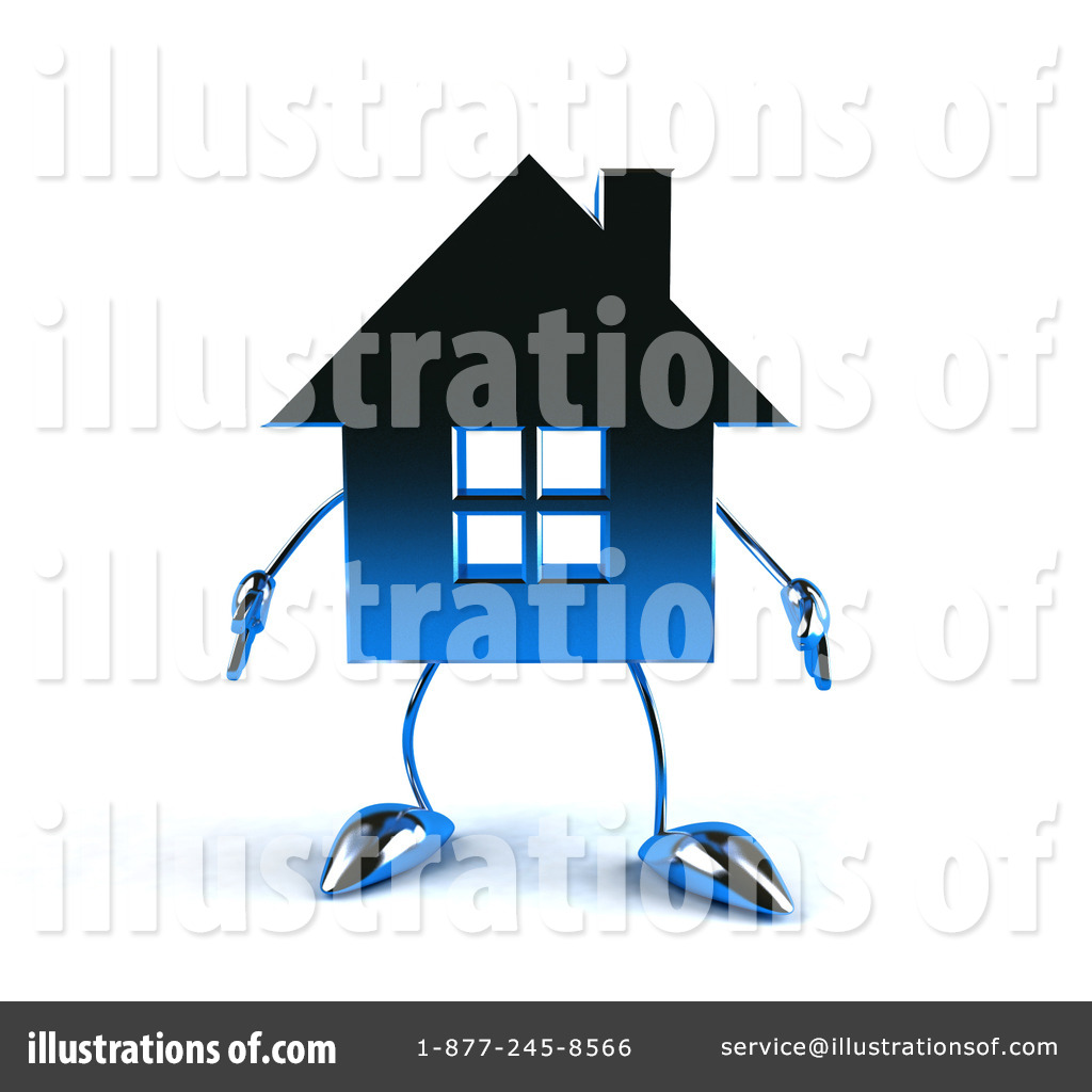 Blue Chrome House Character Clipart #56147.