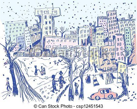 Winter City Street Free Clipart.