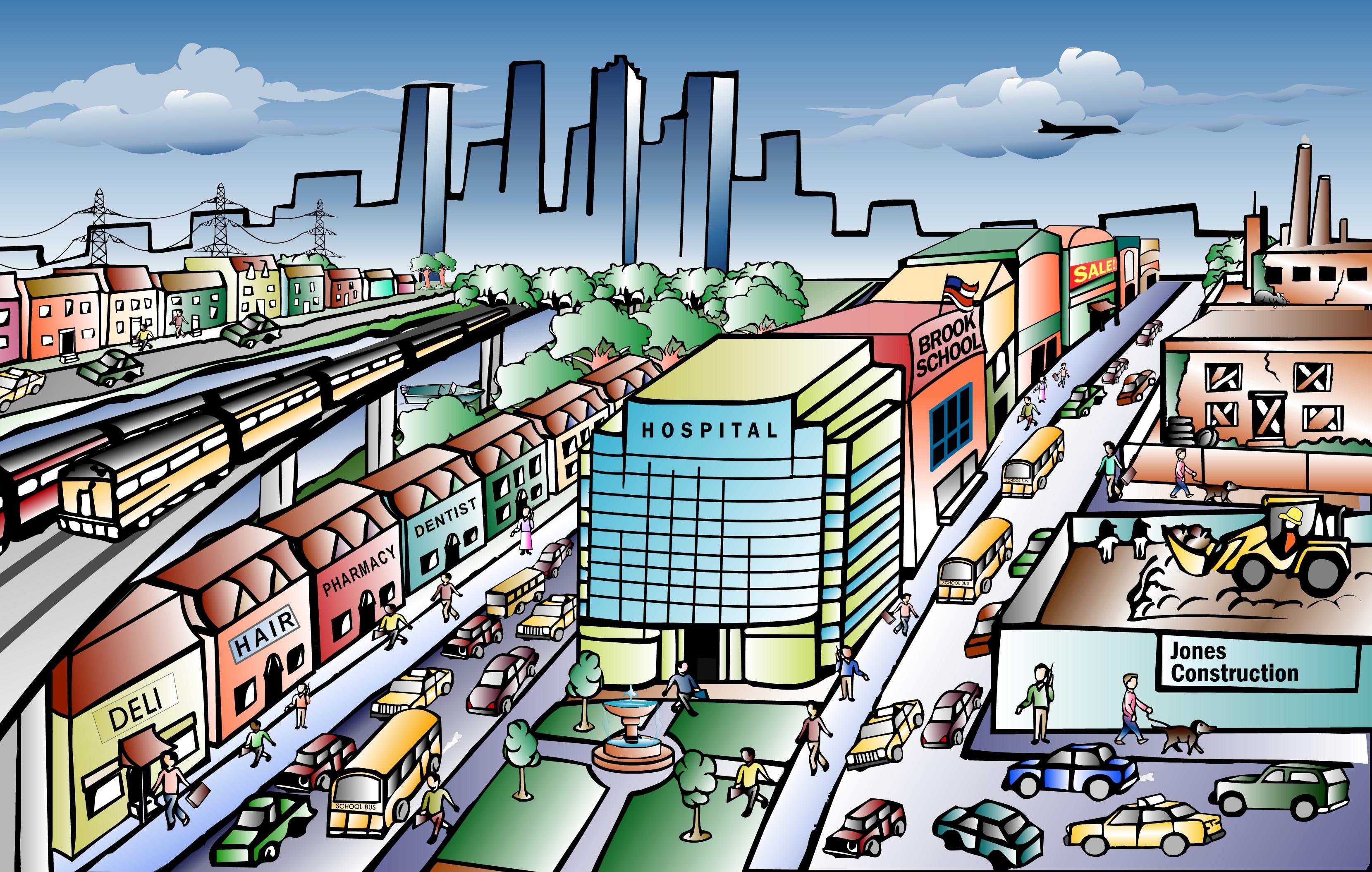 Clipart city scenes.