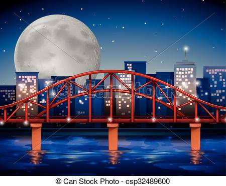 Vector Clipart of City scene with bridge over the river.