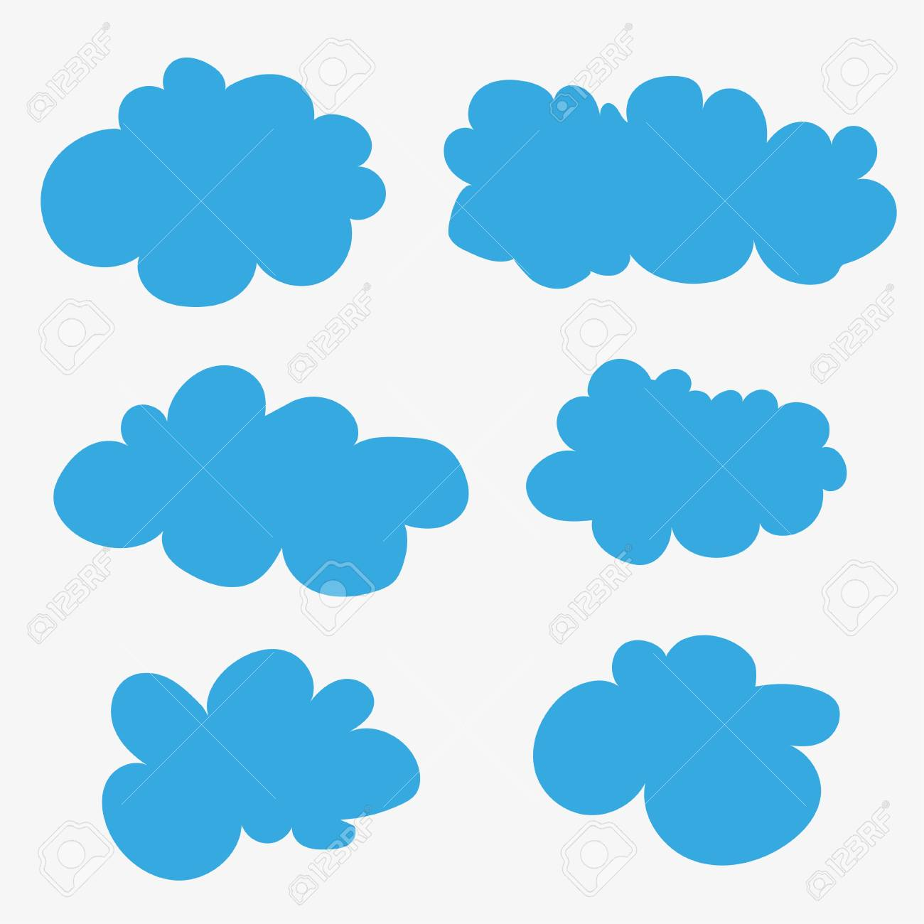 Vector clouds. Cumulus clouds. Cartoons. Blue clouds on white...