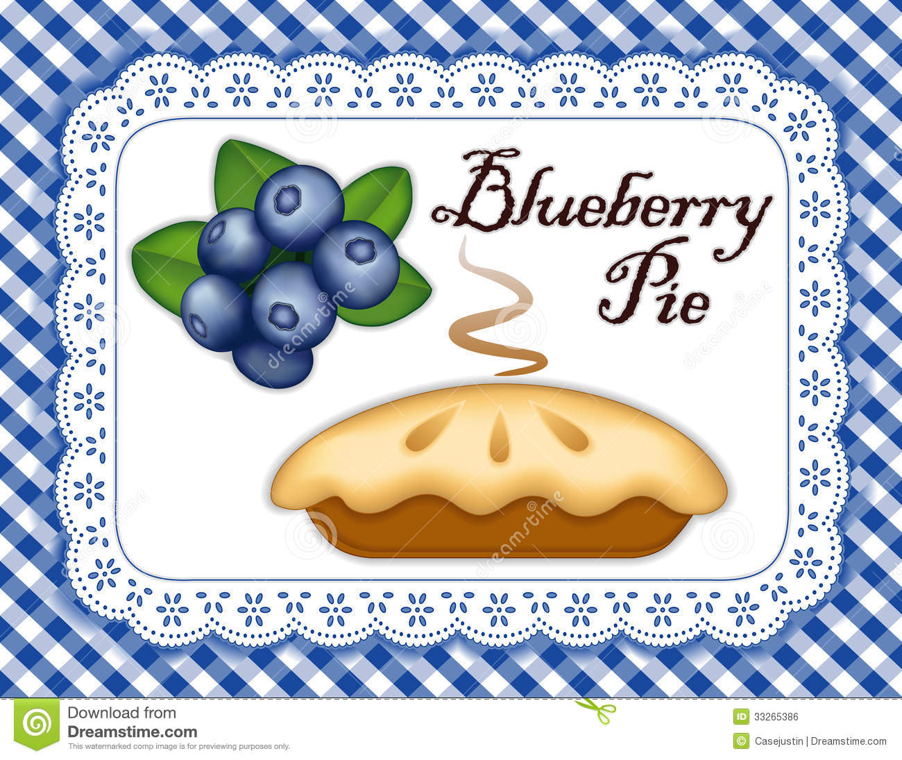 Blueberry Pie, Lace Doily Place Mat, Blue Gingham Royalty Free.