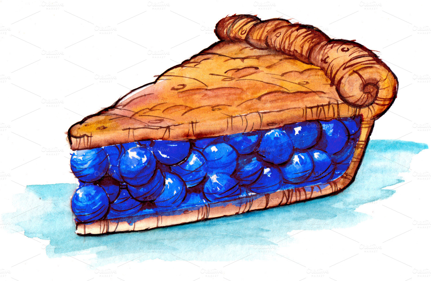 Blueberry Pies Clipart.