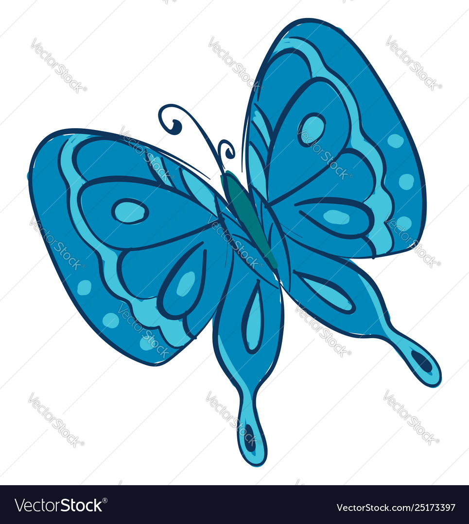 Clipart a blue butterfly or color.