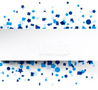 Paper Card Over Blue Confetti premium clipart.
