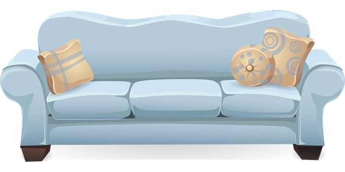 Couch Sofa Blue Pillows Cushions Seat.