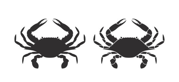 Silhouette Of Blue Crabs Illustrations, Royalty.