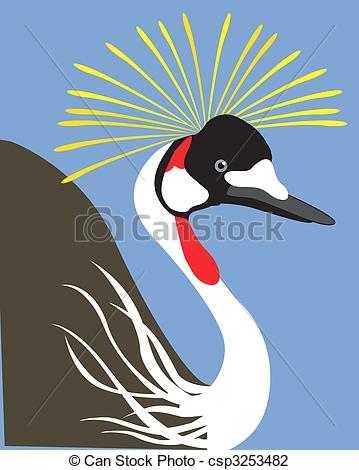 Clip Art of Crowned crane.