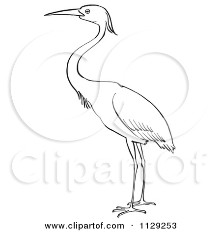 Clipart of a Happy Blue Heron Bird.