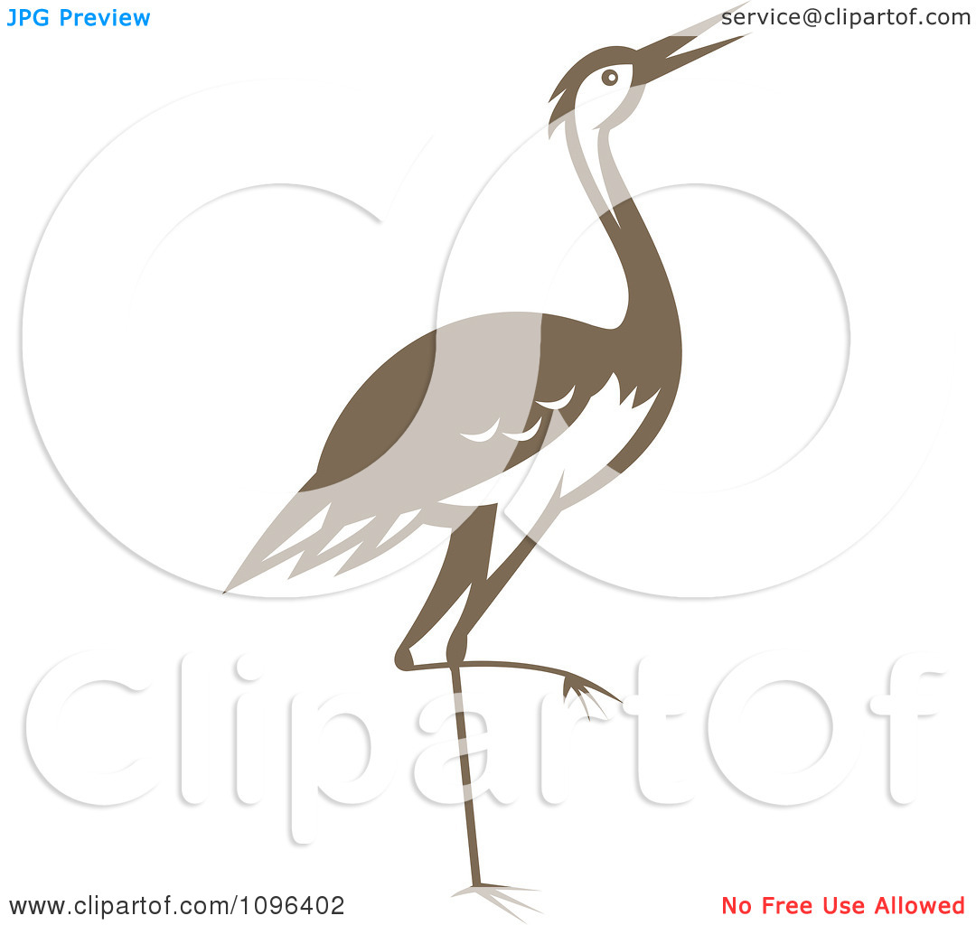 Clipart Retro Woodcut Styled Brown Crane Or Heron Bird.