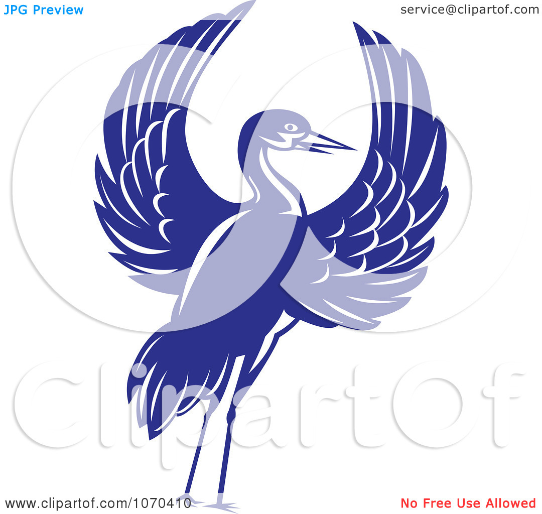 Clipart Blue Crane With Open Wings.