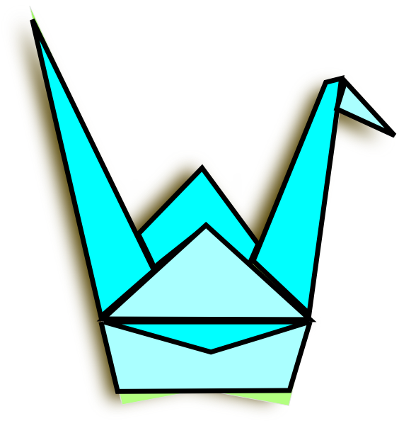 Blue Origami Crane Clip Art at Clker.com.