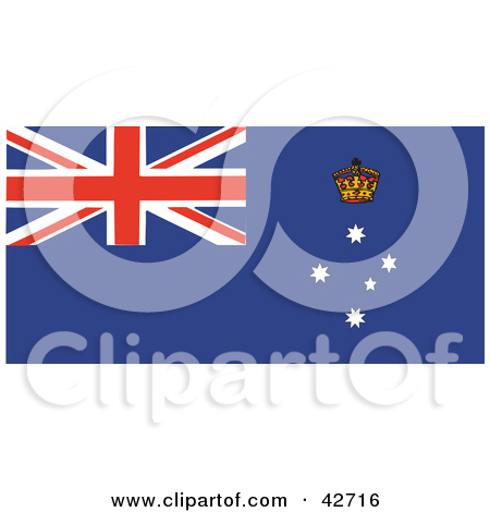 Clipart Illustration of a Red, White And Blue Flag Of Victoria.