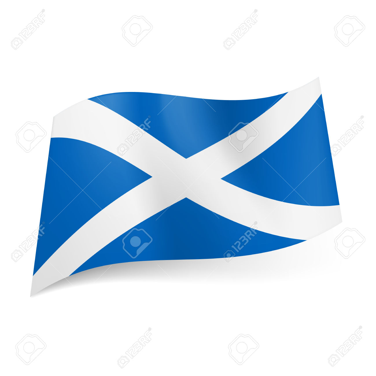 National Flag Of Scotland: White Cross On Blue Background. Royalty.