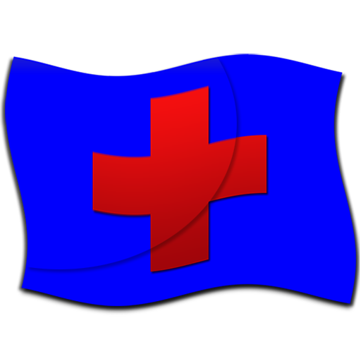 Red cross blue flag clipart image.