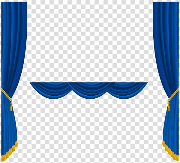 Blue curtains illustration, Theater drapes and stage.