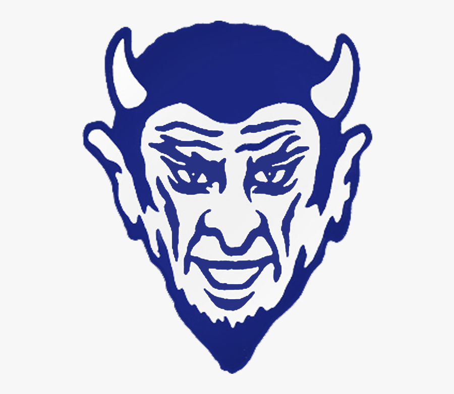 Transparent Blue Devil Mascot Clipart.