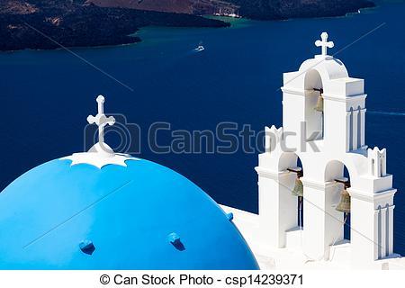 Picture of Blue Dome Church Santorini Greece.