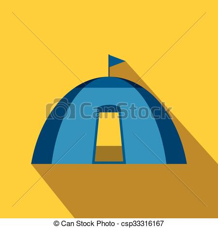 Clip Art Vector of Blue dome tent flat icon on a yellow background.