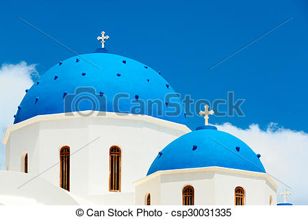 Stock Photos of Greek church with blue dome in Santorini.