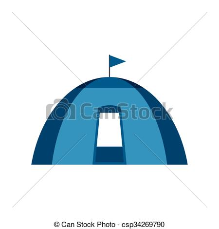 EPS Vectors of Blue dome tent flat icon isolated on white.