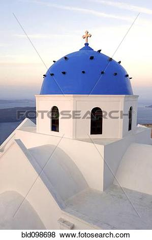 Pictures of Blue dome of orthodox Greek church bld098698.