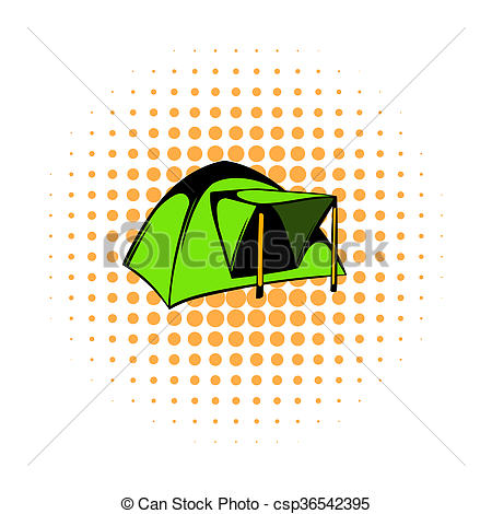 Stock Illustration of Blue dome tent icon, comics style.