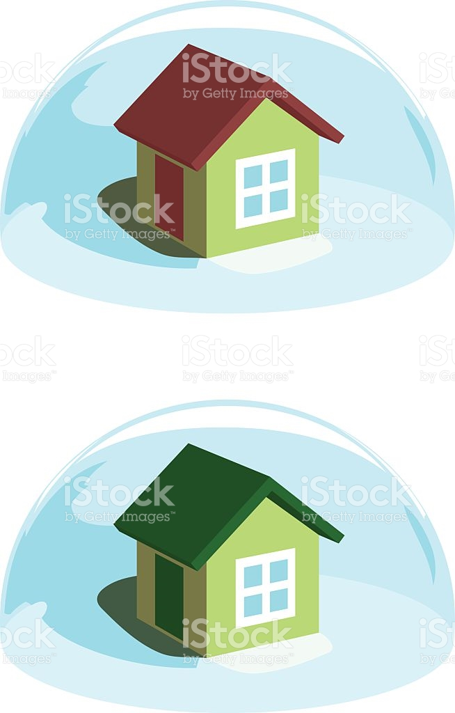 Green House Under The Blue Dome Protection stock vector art.