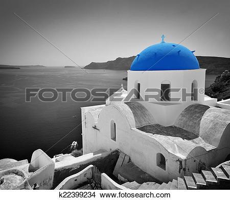 Stock Photo of Oia town on Santorini island, Greece. Blue dome.
