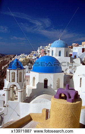 Picture of Blue domes of Churches, Santorini, Greece x13971887.