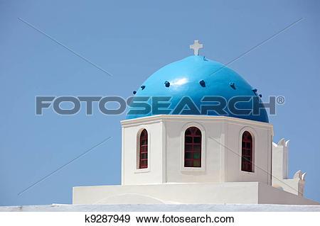 Stock Photograph of Greece, Cyclades Islands, Santorini, Oia.