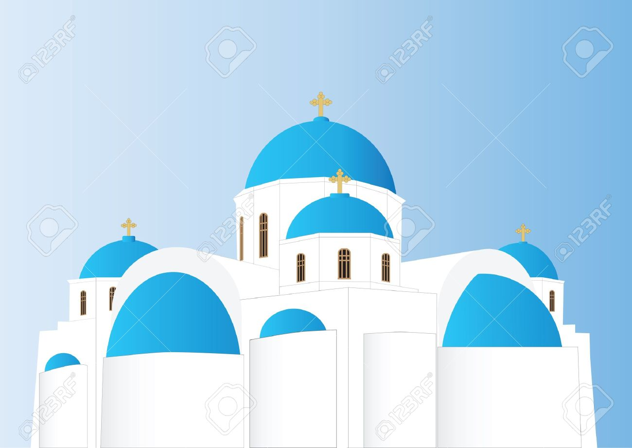 Vector Of A Blue And White Greek Orthodox Church With Domes.