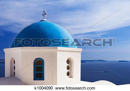 Stock Photography of Blue dome in Santorini k1004090.