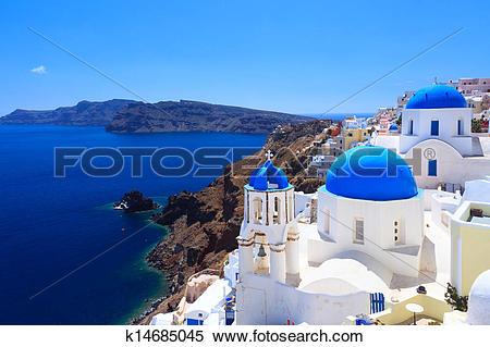 Stock Image of Blue Dome Churches Oia Santorini k14685045.