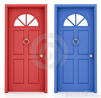 Red Door Blue Door Stock Photo.