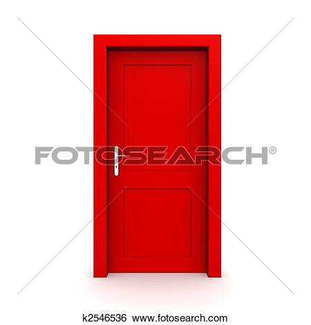 Clip Art of Closed Single Blue Door k3242992.
