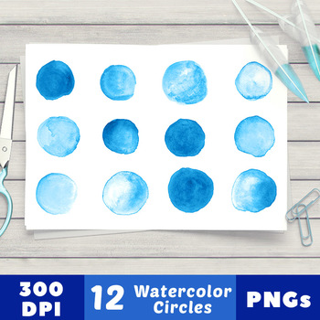 12 Small Blue Watercolor Circles Clipart, Hand Painted Dots, Spots, Shapes,  PNG.