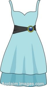 Clip Art Picture of a Blue Party Dress.