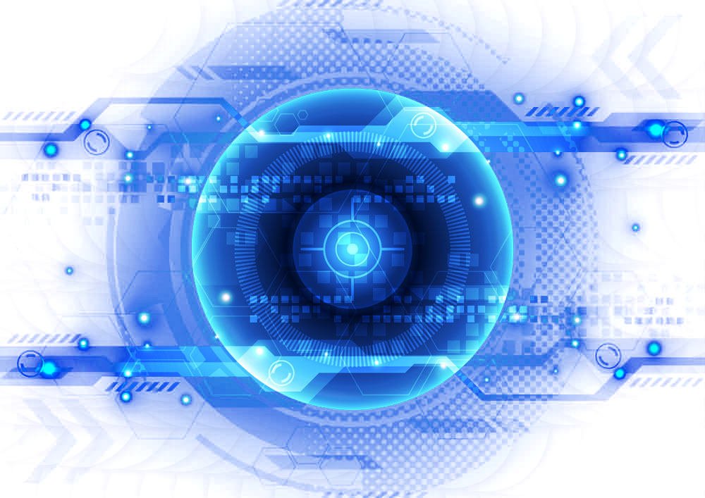 technology blue glow eye robot neon effects png.
