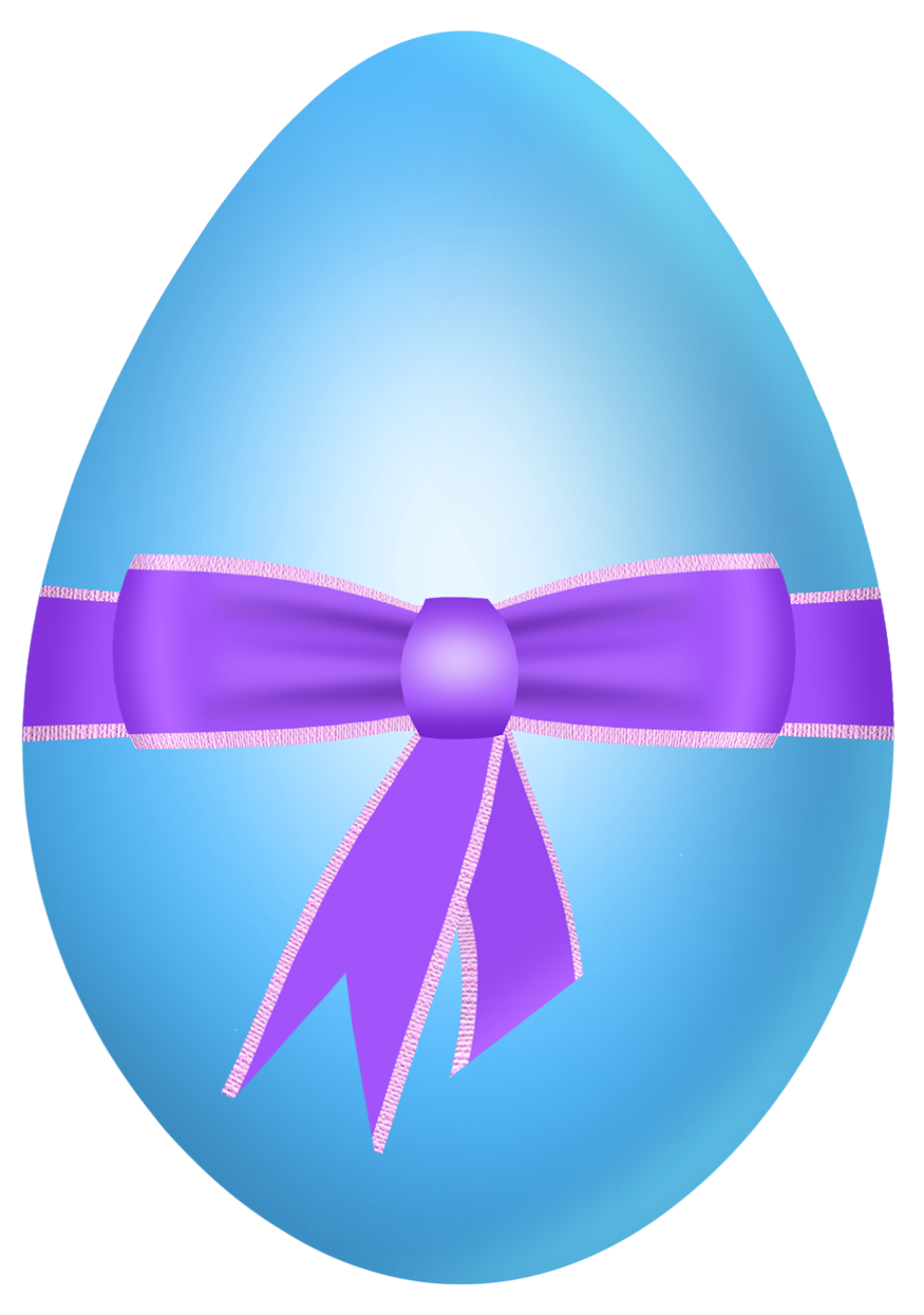 Easter Blue Egg with Purple Bow PNG Clipart Picture.
