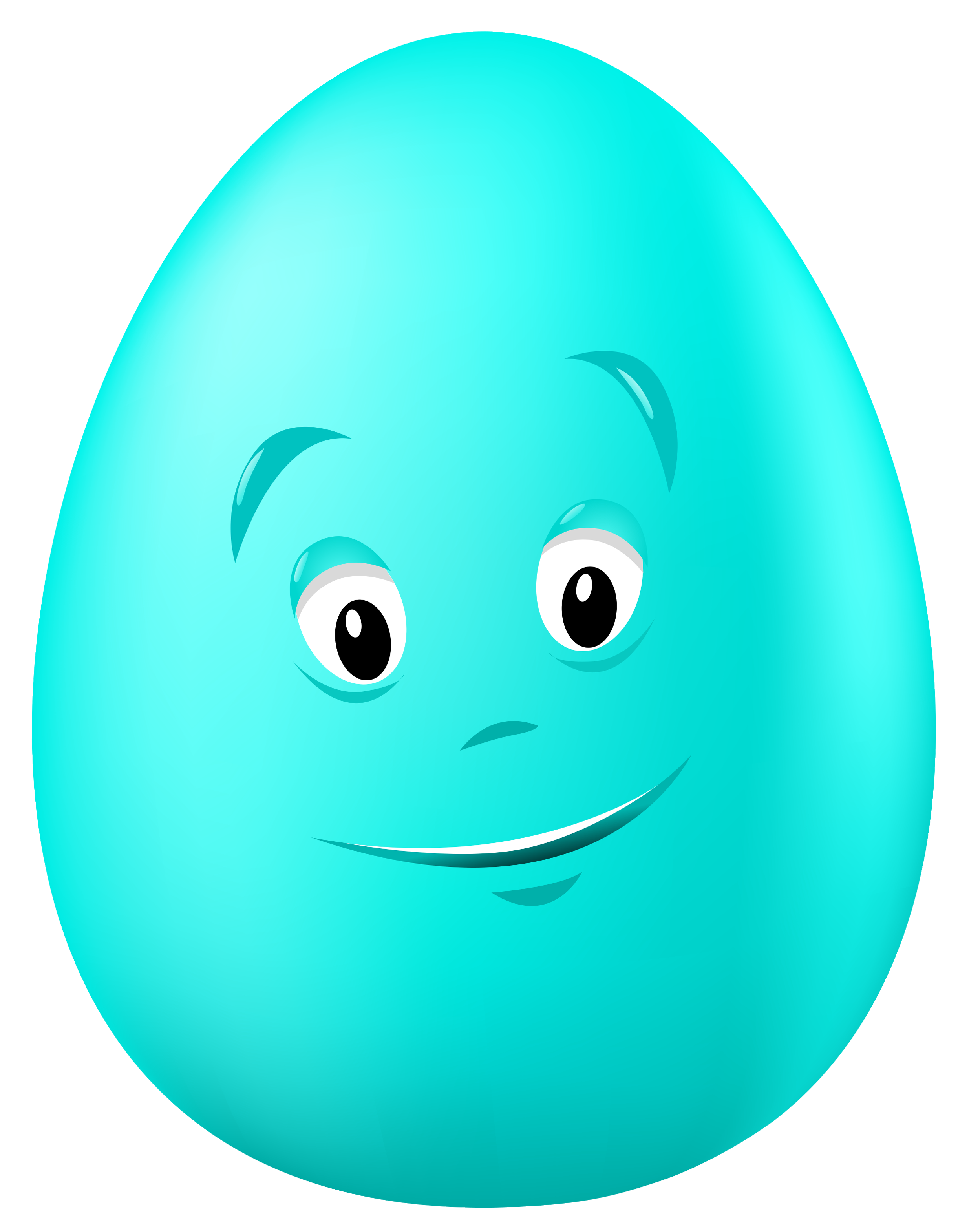 Transparent Easter Blue Egg with Face PNG Clipart Picture.