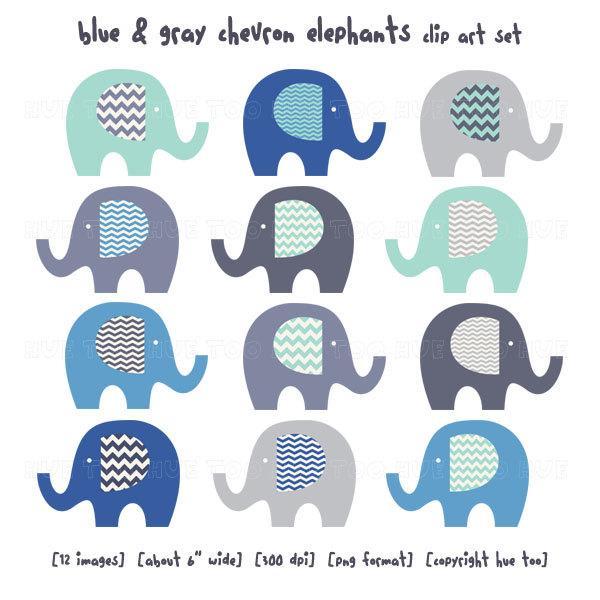 Chevron Blue Elephant Clipart.