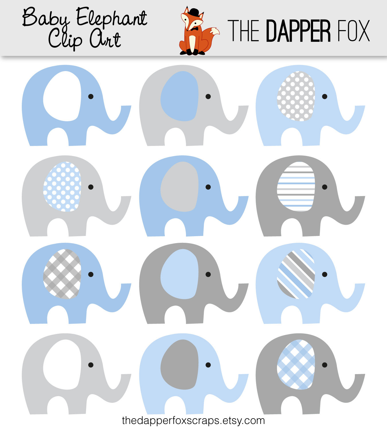 Blue elephant baby shower clipart.