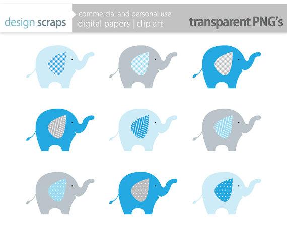 Blue baby elephant clipart.